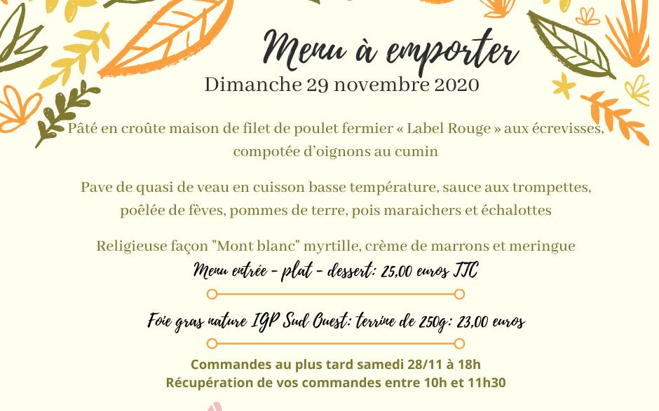 MENU A EMPORTER - Dimanche 29 novembre 2020
